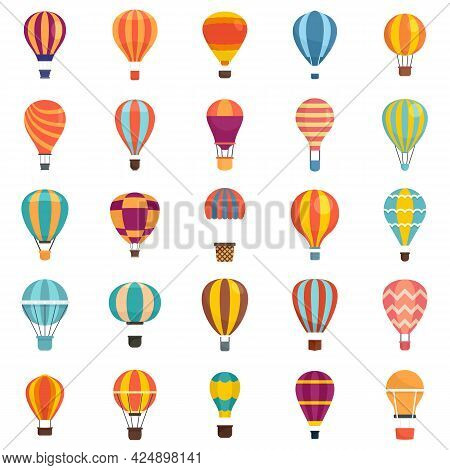 Air Balloon Icons Set. Flat Set Of Air Balloon Vector Icons Isolated On White Background