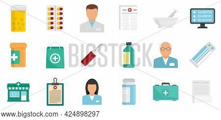 Pharmacist Icons Set. Flat Set Of Pharmacist Vector Icons Isolated On White Background