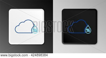 Line Humidity Icon Isolated On Grey Background. Weather And Meteorology, Cloud, Thermometer Symbol.