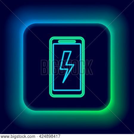 Glowing Neon Line Smartphone Charging Battery Icon Isolated On Black Background. Phone With A Low Ba
