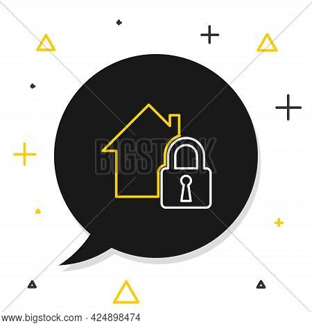 Line House Under Protection Icon Isolated On White Background. Home And Lock. Protection, Safety, Se