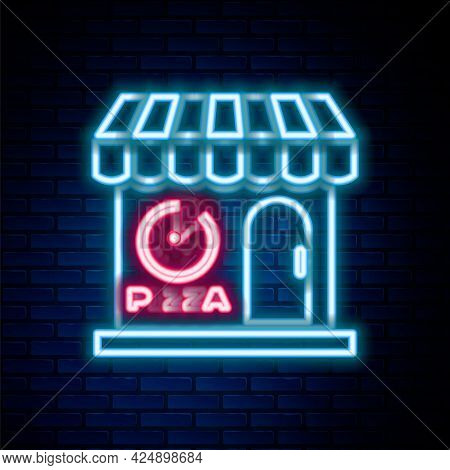 Glowing Neon Line Pizzeria Building Facade Icon Isolated On Brick Wall Background. Fast Food Pizzeri