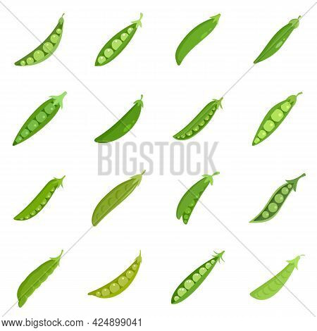 Peas Icons Set. Flat Set Of Peas Vector Icons Isolated On White Background