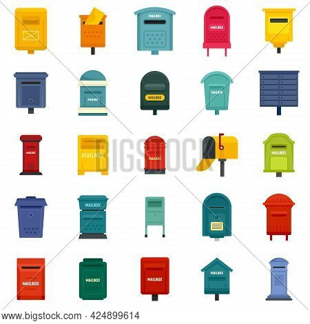 Mailbox Icons Set. Flat Set Of Mailbox Vector Icons Isolated On White Background