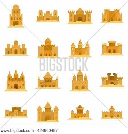 Castle Sand Icons Set. Flat Set Of Castle Sand Vector Icons Isolated On White Background