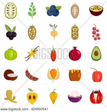 Superfood Icons Set. Flat Set Of Superfood Vector Icons Isolated On White Background