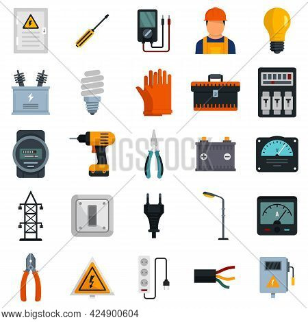 Electrician Service Icons Set. Flat Set Of Electrician Service Vector Icons Isolated On White Backgr