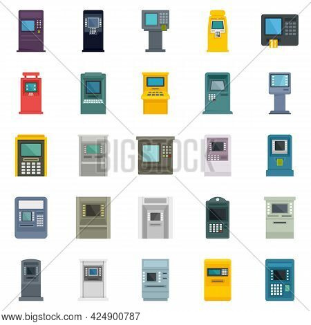 Atm Machine Icons Set. Flat Set Of Atm Machine Vector Icons Isolated On White Background