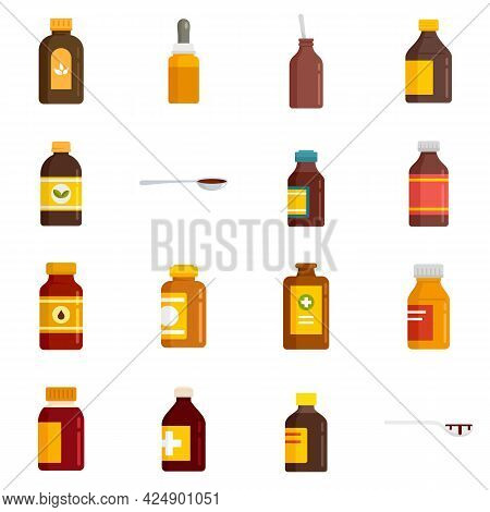 Cough Syrup Icons Set. Flat Set Of Cough Syrup Vector Icons Isolated On White Background