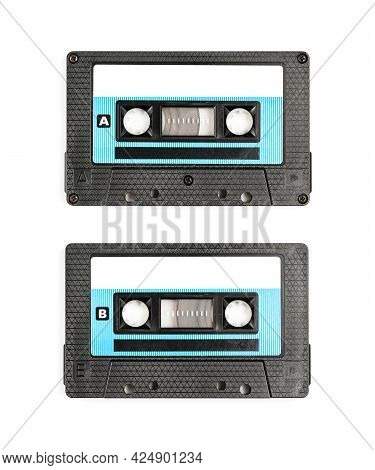 Old Vintage Audio Cassette Tape - Both Sides A And B Isolated On A White Background Eiyj Clipping Pa