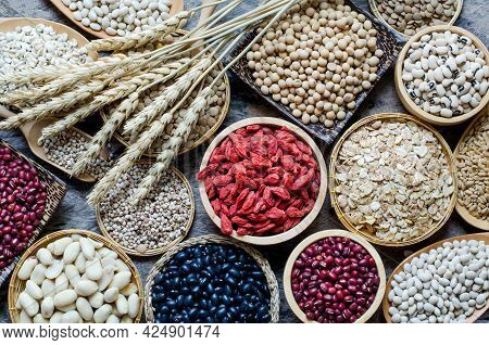 Top View Of Dry Goji Berry With Soybean, Millet, Peanut, Red And  Black Bean, Lentils, Rice, Job's T