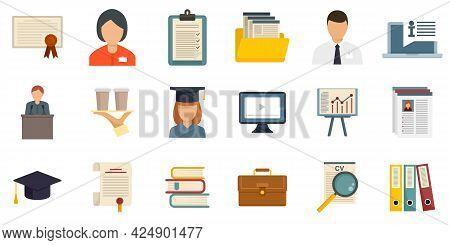 Internship Icons Set. Flat Set Of Internship Vector Icons Isolated On White Background