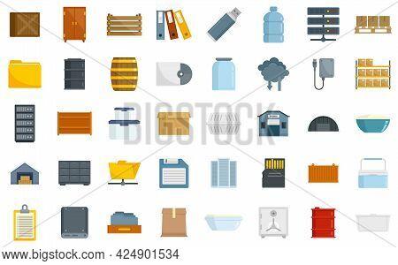 Storage Icons Set. Flat Set Of Storage Vector Icons Isolated On White Background