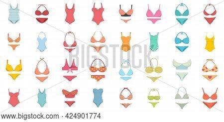 Swimsuit Icons Set. Flat Set Of Swimsuit Vector Icons Isolated On White Background