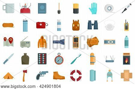 Survival Icons Set. Flat Set Of Survival Vector Icons Isolated On White Background