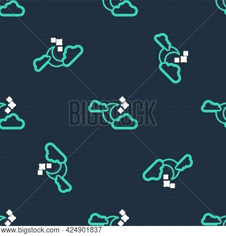 Line Cloud With Moon And Stars Icon Isolated Seamless Pattern On Black Background. Cloudy Night Sign