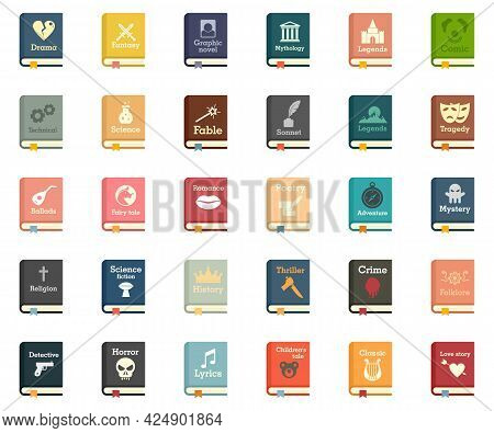 Literary Genres Icons Set. Flat Set Of Literary Genres Vector Icons Isolated On White Background