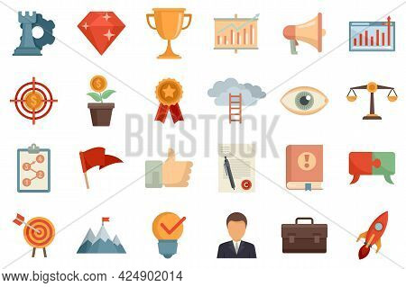 Mission Icons Set. Flat Set Of Mission Vector Icons Isolated On White Background