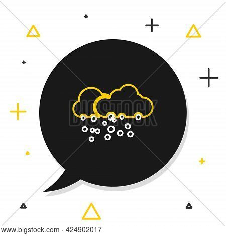 Line Cloud With Snow Icon Isolated On White Background. Cloud With Snowflakes. Single Weather Icon.