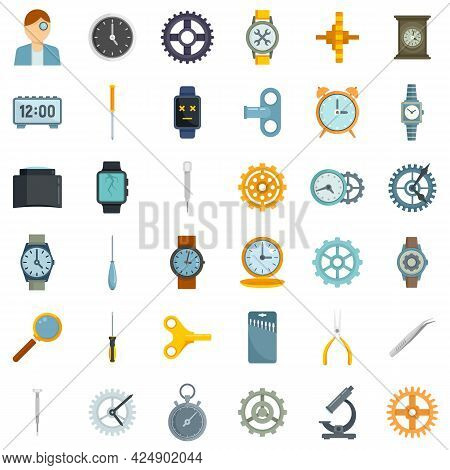 Watch Repair Icons Set. Flat Set Of Watch Repair Vector Icons Isolated On White Background