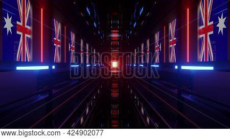 4k Uhd Tunnel With Australian Flags 3d Illustration