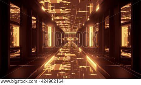 4k Uhd Abstract Tunnel With Golden Australian Flags 3d Illustration