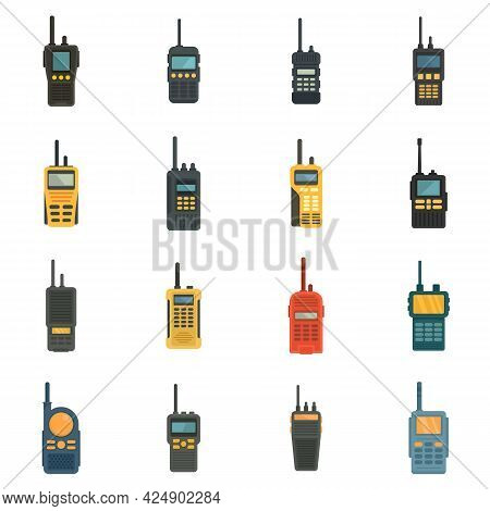 Walkie Talkie Icons Set. Flat Set Of Walkie Talkie Vector Icons Isolated On White Background