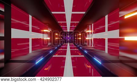 4k Uhd Tunnel With Flags Of Denmark 3d Illustration