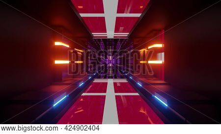 3d Illustration Of 4k Uhd Corridor With Danish Flags