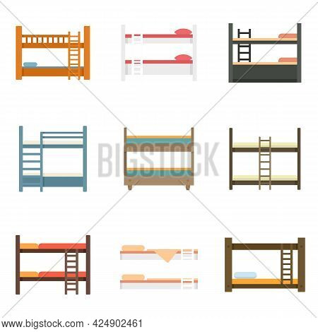 Bunk Bed Icons Set. Flat Set Of Bunk Bed Vector Icons Isolated On White Background