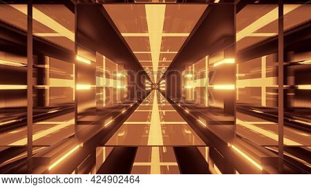 4k Uhd Golden Tunnel With Glass Walls 3d Illustration