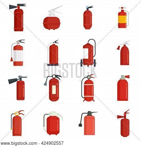 Fire Extinguisher Icons Set. Flat Set Of Fire Extinguisher Vector Icons Isolated On White Background