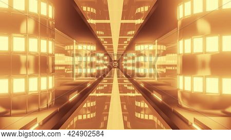 4k Uhd Neon Lamps Inside Golden Tunnel 3d Illustration