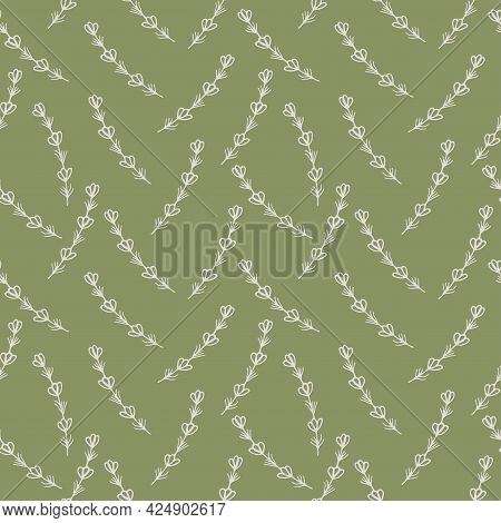 Seamless Pattern With Hand Drawn Floral Elements Lavender On A Green Background. It Can Be Used For