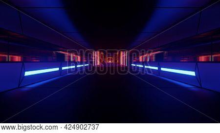 4k Uhd Dark Tunnel With Neon Illumination 3d Illustration