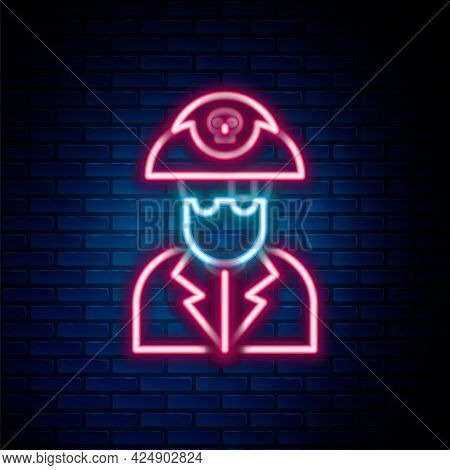 Glowing Neon Line Pirate Captain Icon Isolated On Brick Wall Background. Colorful Outline Concept. V