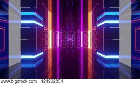 3d Illustration Of 4k Uhd Colorful Neon Corridor