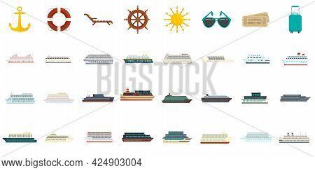 Cruise Icons Set. Flat Set Of Cruise Vector Icons Isolated On White Background