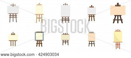Easel Icons Set. Flat Set Of Easel Vector Icons Isolated On White Background