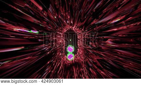 4k Uhd 3d Illustration Glowing Abstract Tunnel