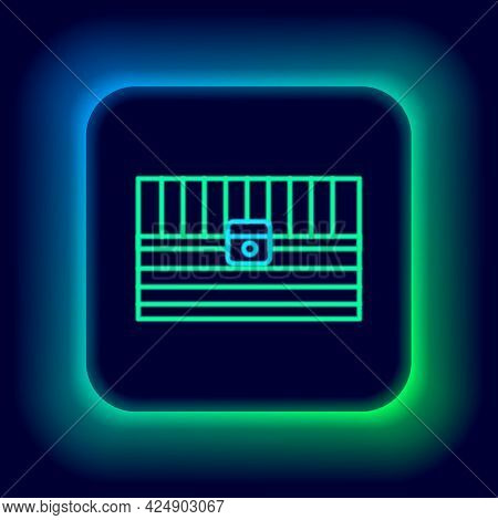Glowing Neon Line Antique Treasure Chest Icon Isolated On Black Background. Vintage Wooden Chest Wit