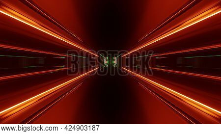 Red Neon Rays Of 4k Uhd 3d Illustration