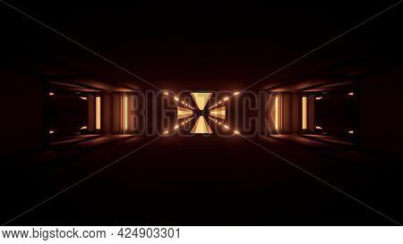 4k Uhd 3d Illustration Of Dark Neon Tunnel