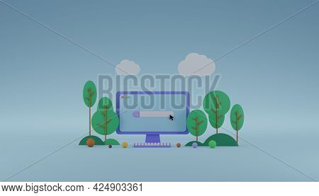 Minimal Design Computer With Online Search Bar On Screen 3d Rendering Illustration