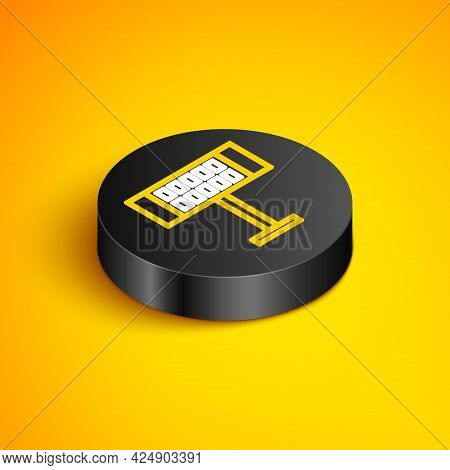 Isometric Line Electric Heater Icon Isolated On Yellow Background. Infrared Floor Heater With Remote