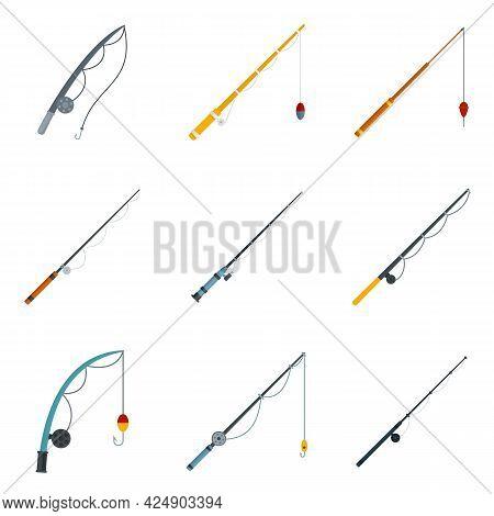 Fishing Rod Icons Set. Flat Set Of Fishing Rod Vector Icons Isolated On White Background
