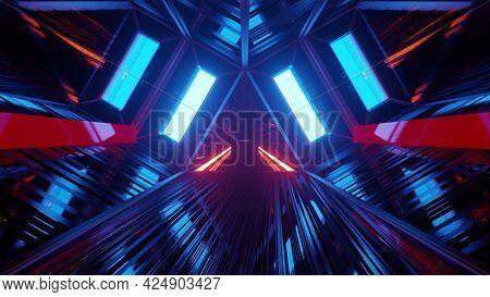 Futuristic Dark Tunnel In 4k Uhd As 3d Illustration