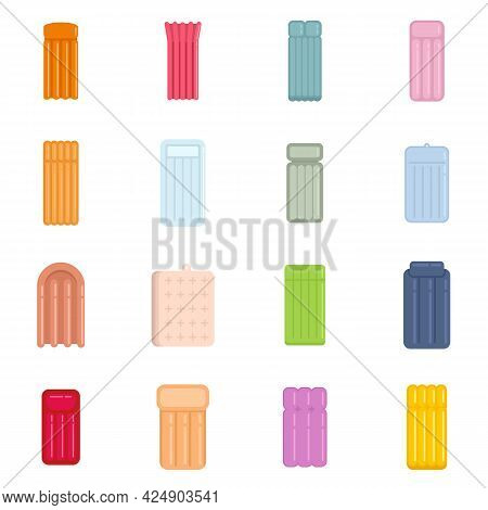 Inflatable Mattress Icons Set. Flat Set Of Inflatable Mattress Vector Icons Isolated On White Backgr
