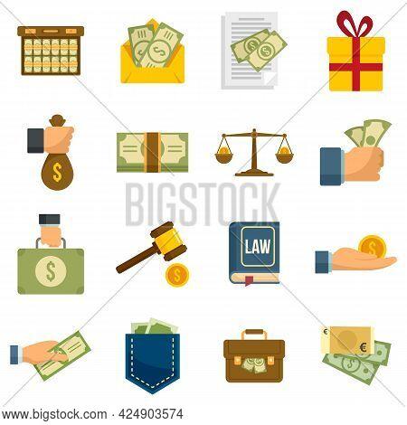 Bribery Icons Set. Flat Set Of Bribery Vector Icons Isolated On White Background