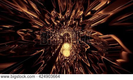 Abstract Tunnel With Golden Light Reflections 4k Uhd 3d Illustration